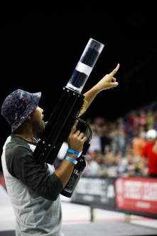 Eric Koston sends shirts out to fans with the Tshirt bazooka