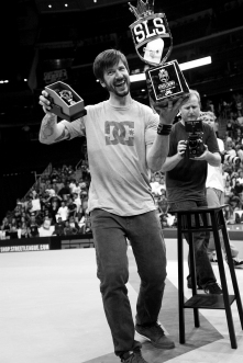 Chris Cole shows off his much deserved SLS Super Crown trophy
